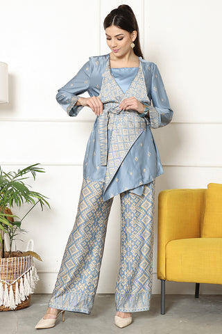 Kanzi Songket Kebaya Pants Set Blue