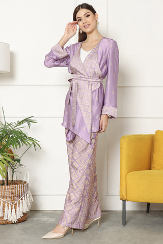 Kanzi Songket Kebaya Pants Set Purple