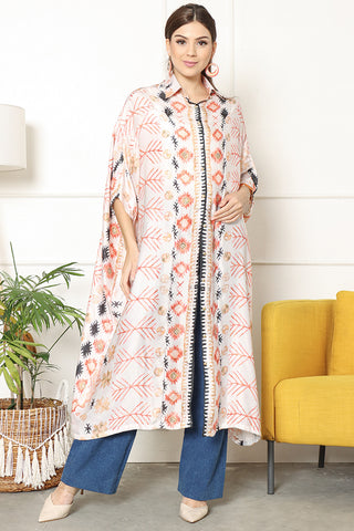 Kanzi 3/4 Sleeve Tribes Collared New Kaftan Coral