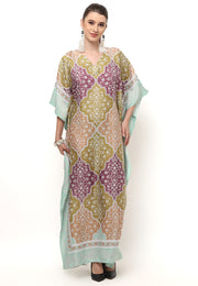 Kanzi Short Sleeve Modern Tiles Kaftan