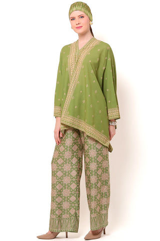 Kanzi Olive Tapis Tunik Set with Pants