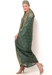 Kanzi Long Sleeve Army Green Tapis Kaftan