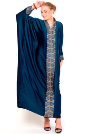Kanzi Long Sleeve Blue Tapis Kaftan