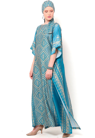 Kanzi Short Sleeve Tapis Kaftan Dusty Blue