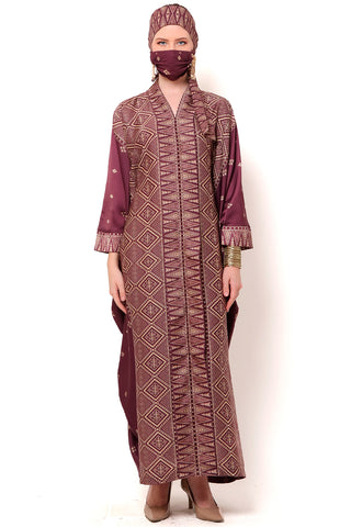 Kanzi Long Sleeve Burgandy Tapis Kaftan