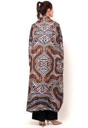 Kanzi Collared Brown Batik Kaftan