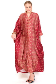 Kanzi Long Sleeve Red Tapis Kaftan