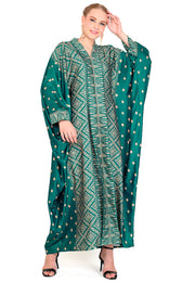 Kanzi Long Sleeve Green Tapis Kaftan