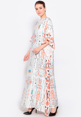 Kanzi Short Sleeve Tribal Printed Kaftan
