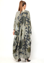 Kanzi Long Sleeve Green Batik Kaftan
