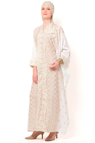 Kanzi Long Sleeve White Tapis Kaftan