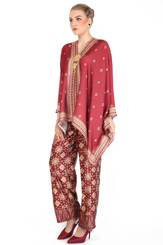Kanzi Red Tapis Tunik Set with Pants