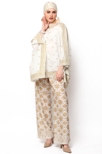 Kanzi White Tapis Tunik Set with Pants