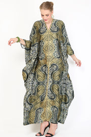 Kanzi Long Sleeve Olive Brown Batik Kaftan