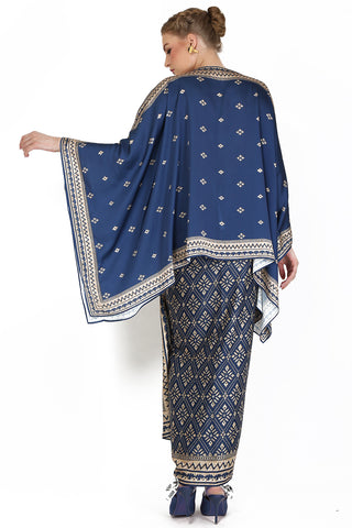 Kanzi Navy Blue Tunik Set with Sarong