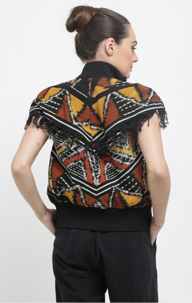 Handwoven Ikat Vest Bomber with fringes