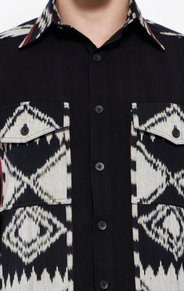 Handwoven Ikat Shirt Jacket