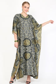 Kanzi Short Sleeve Olive Brown Batik Kaftan