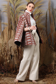 Brown Ikat Detachable Cape