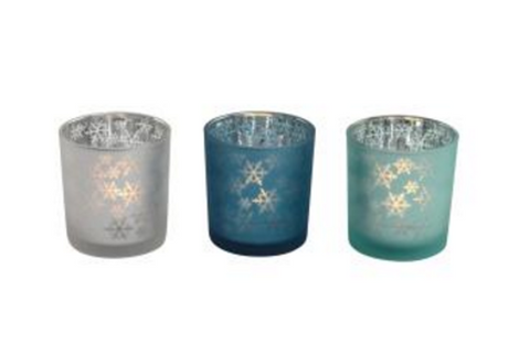 Snowflake Design Reflective Votive Holder - LX Crafts Co