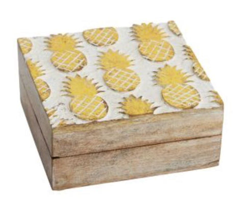 Gold Pineapple Carved Square Box - LX Crafts Co