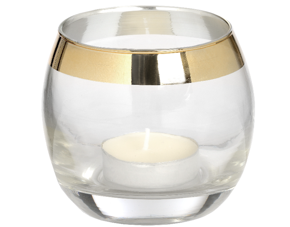 Glass Tealight Holder with Brass Effect - LX Crafts Co