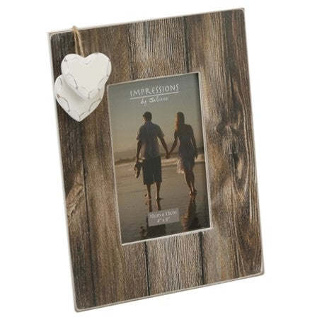 Distressed Wood Frame With Hanging Hearts - LX Crafts Co