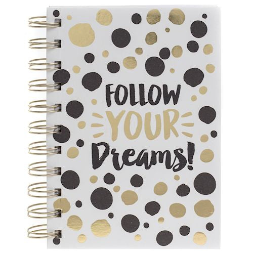 Gold Dot Notebook Follow Your Dreams - LX Crafts Co