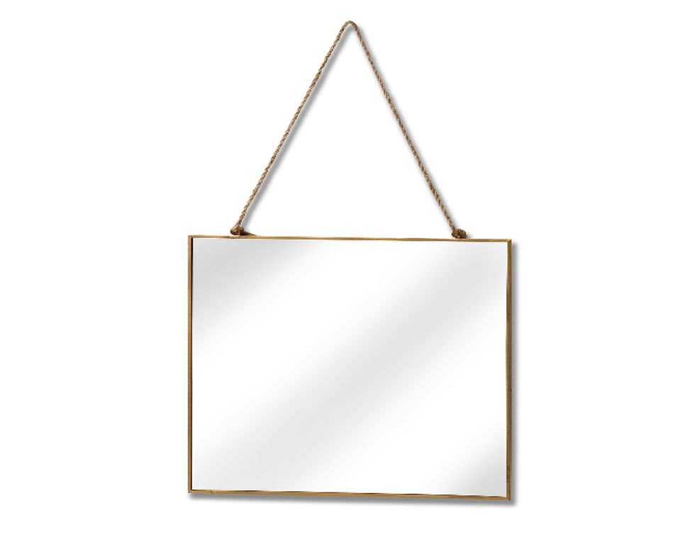Gold Edged Square Hanging Mirror - LX Crafts Co