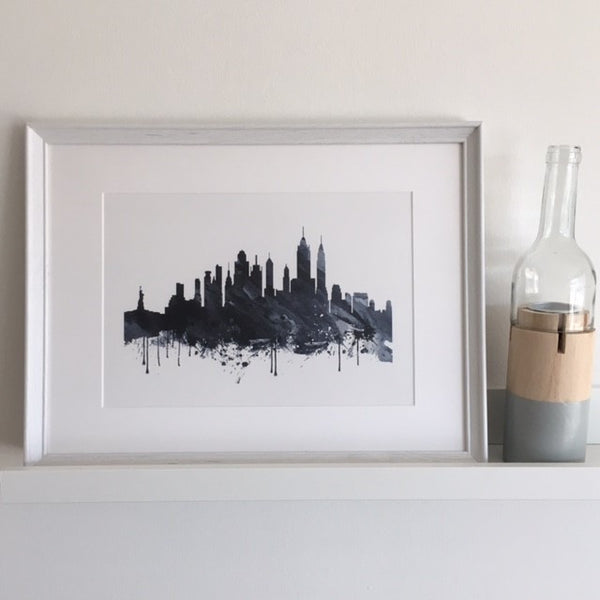 Grey, Black & White NYC Watercolor Framed Print - LX Crafts Co