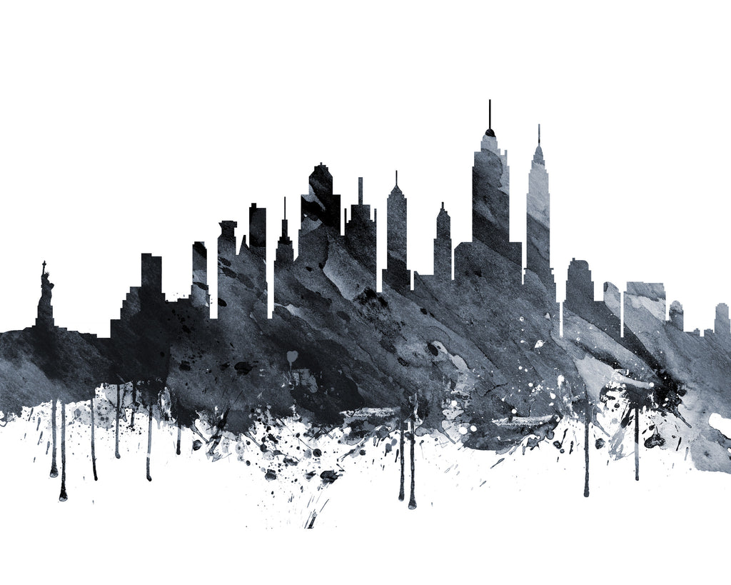 Abstract New York Paintings Black White  S Skyline
