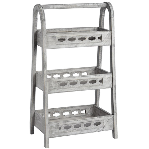 Grey Washed Wooden A-frame Shelf Unit - LX Crafts Co