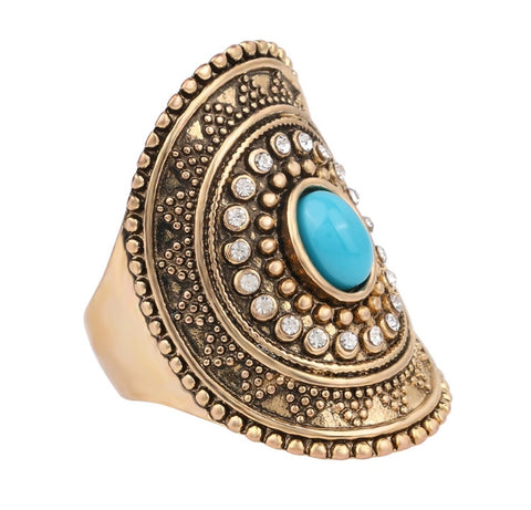 Turquoise Mosaic Gold Plated Ring - LX Crafts Co
