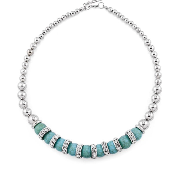 Blue Rhinestone Necklace - LX Crafts Co