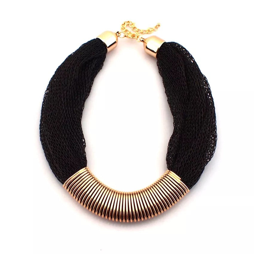 Black Netted Statement Necklace - LX Crafts Co