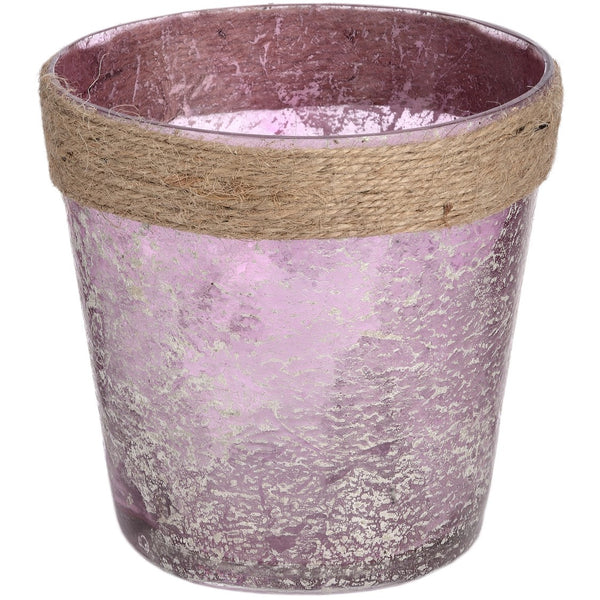 Metallic Rose glass Plant Pot with Natural Rope - LX Crafts Co