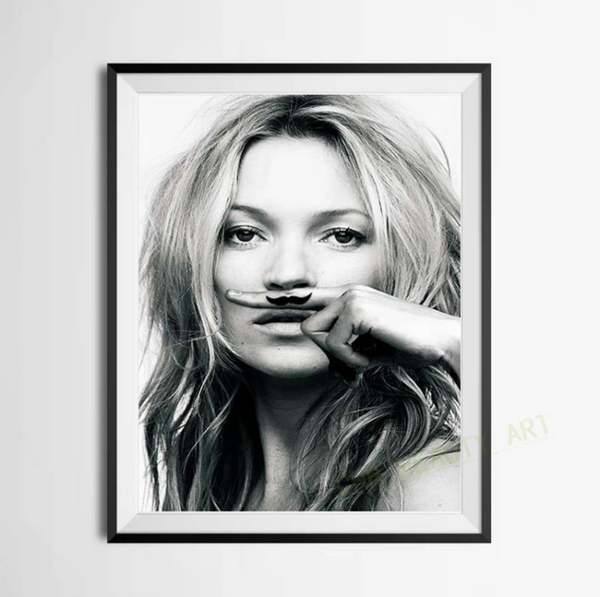 "Kate Moss, ""Life is a Joke"" Mustache Print - LX Crafts Co"