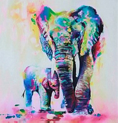 Multicolor Elephant Framed Canvas - LX Crafts Co