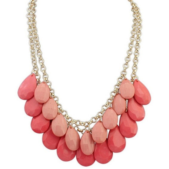 Pink Droplet Necklace - LX Crafts Co