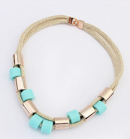 Turquoise and Gold Necklace - LX Crafts Co