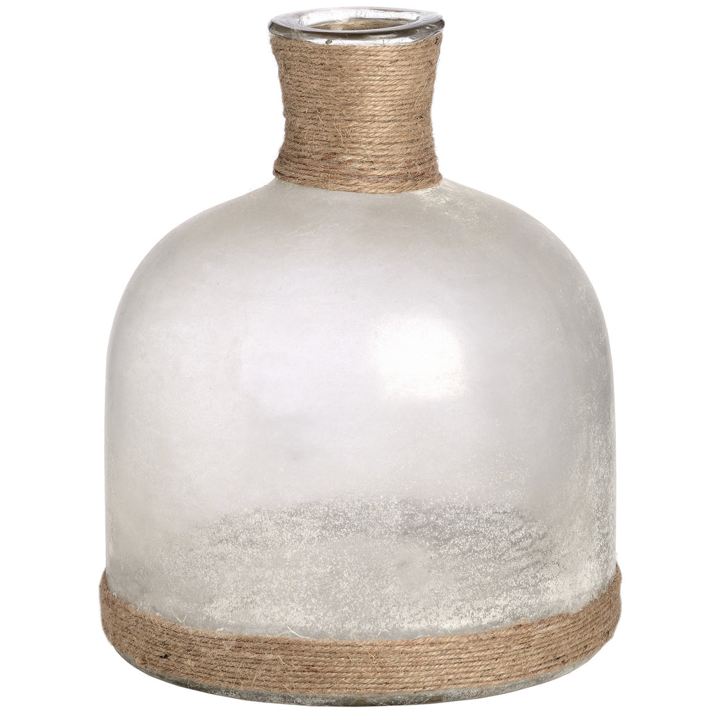 White Frosted Glass Domed Vase With Natural Rope - LX Crafts Co