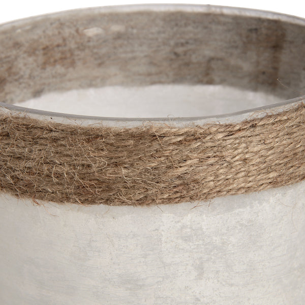 White Frosted Glass Plant Pot with Natural Rope - LX Crafts Co
