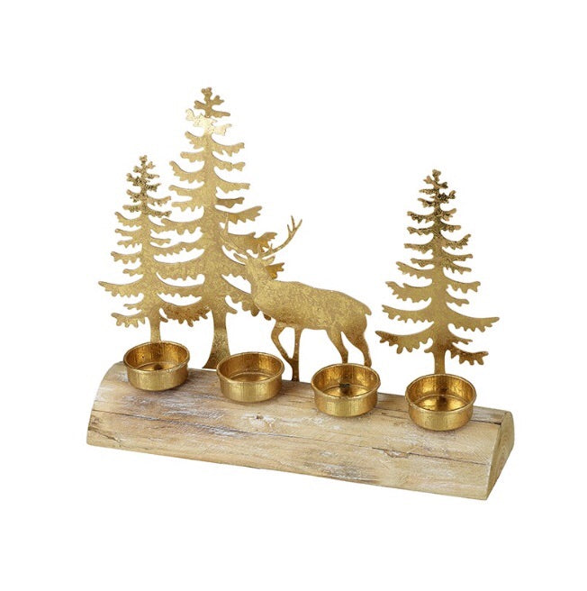 JUST IN | Metal Tree and Deer Tealight Holder - LX Crafts Co