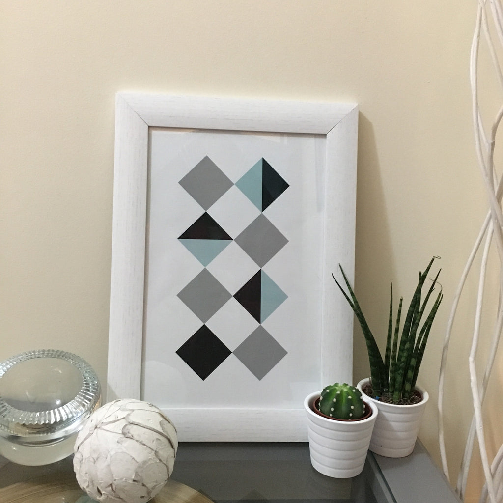 Rhombus Geometric Painting in White Wooden Frame - LX Crafts Co
