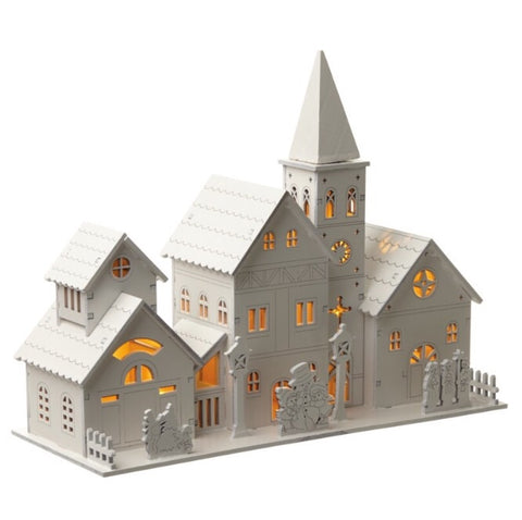 Wooden Church Decor with LED Light - LX Crafts Co