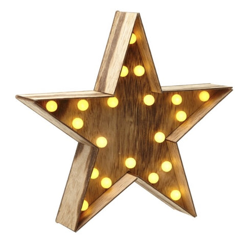 Wooden Star with LED Light - LX Crafts Co