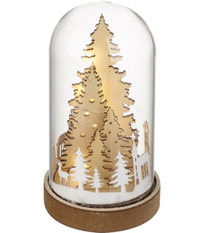 Forest Light Up Scene in Glass Dome - LX Crafts Co