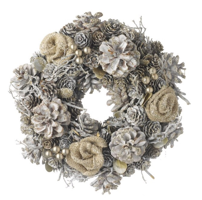 White Wreath with Burlap Rose - LX Crafts Co