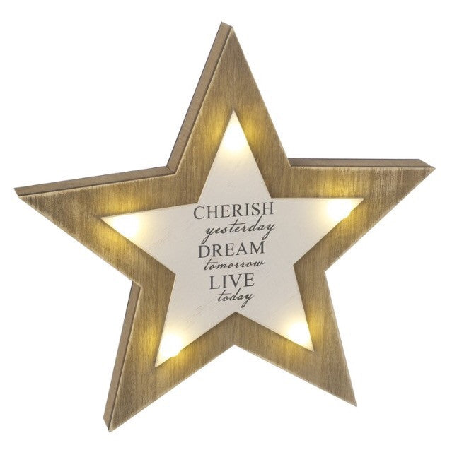 "LED Wooden Star ""Cherish Yesterday"" - LX Crafts Co"