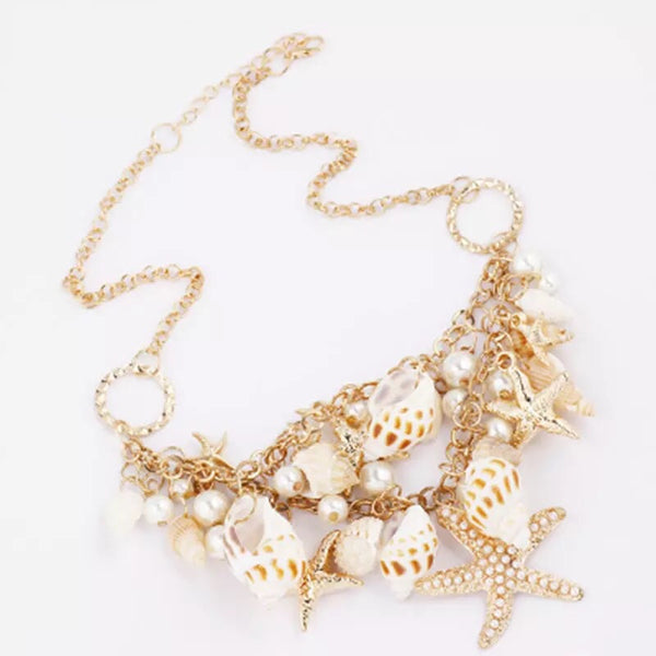 Beachy Shell Statement Necklace - LX Crafts Co